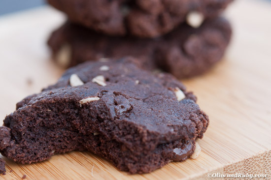 Double Chocolate Chip Cookies with Almonds ©OliveandRuby.com