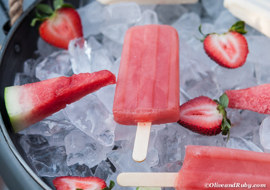 Watermelon Strawberry Popsicles ©OliveandRuby.com