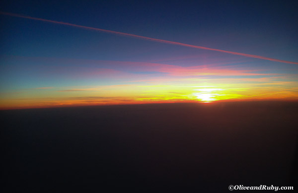 Sunset from plane (c)OliveandRuby.com
