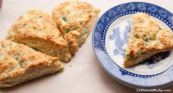Gruyere and Green Onion biscuits (c)OliveandRuby.com
